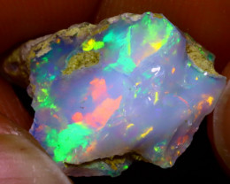 5.55Ct Multi Color Play Ethiopian Welo Opal Rough J1219/R2