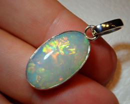 21.51ct Natural Ethiopian Welo Opal .925 Sterling Silver Pendant
