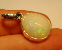 21.54ct Natural Ethiopian Welo Opal .925 Sterling Silver Pendant