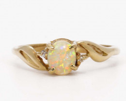 18K GOLD BLACK OPAL RING GOLD AND DIAMONDS [CR99]
