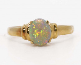 18K GOLD BLACK OPAL RING GOLD AND DIAMONDS [CR100]