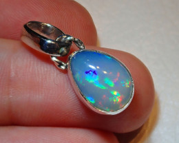 12.86ct Natural Ethiopian Welo Opal .925 Sterling Silver Pendant