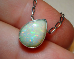 8.52ct Natural Ethiopian Welo Opal .925 Sterling Silver Pendant