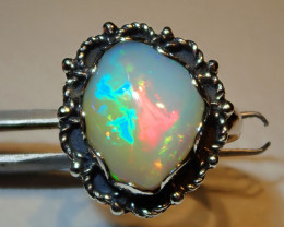 4.7sz Natural Ethiopian Welo Opal .925 Sterling Silver Ring