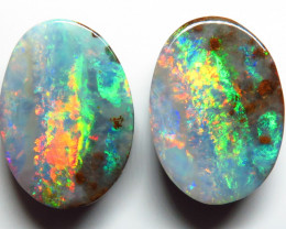 28.17ct Queensland Boulder Opal Pair Polished Split Stone