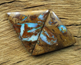 30cts, BOULDER PIPE OPAL~PATTERN PAIR.