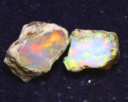 13.97Ct Multi Color Play Ethiopian Welo Opal Rough J2007/R2