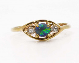 18K GOLD BLACK OPAL RING GOLD AND DIAMONDS [FR23]