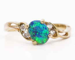 18K GOLD BLACK OPAL RING GOLD AND DIAMONDS [FR26]