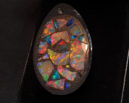 Mosaic Inlayed Black Opal Pendant. Polished Gemstone