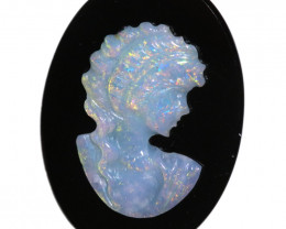 4.18 CTS CAMEO CARVING WITH OPAL -HAND CARVED [SEDA7443]