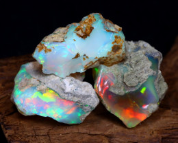 Welo Rough 34.77Ct Natural Ethiopian Play Of Color Rough Opal D2109