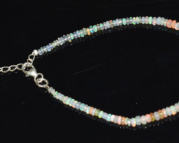 13.60 CT OPAL BRACELET MADE OF NATURAL ETHIOPIAN BEADS STERLING SILVER OBB1