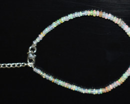 13.00 CT OPAL BRACELET MADE OF NATURAL ETHIOPIAN BEADS STERLING SILVER OBB1