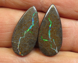 23cts, BOULDER OPAL~GEMMY FLASH PAIR.