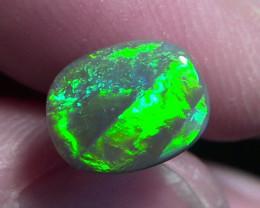 1.64ct Lightning Ridge Solid Gem dark Opal super bright electric fire