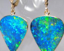 Huge Australian Opal Doublet Earrings Handmade 16.65ct C93