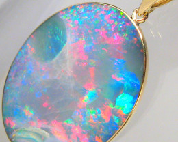 Large Australian Opal Pendant 18.8ct 14k Inlaid Doublet Gift #C91