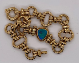 21.064 GRAMS 18 K  ITALIAN GOLD CHAIN BRACELET WITH OPAL    L 438