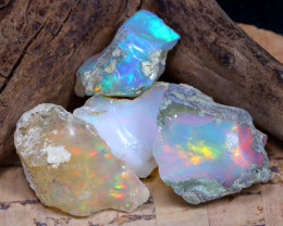 Welo Rough 28.49Ct Natural Ethiopian Play Of Color Rough Opal F3107