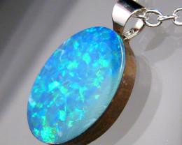 Australian Opal Pendant  Sterling Silver Doublet Gift 2.9ct
