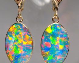 Opal Earrings 14k Gold Genuine  Inlaid Doublet Gems 11.5ct #B05