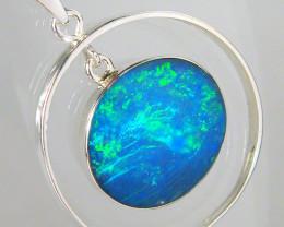 Australian Opal Pendant Silver Hoop Inlaid Doublet 10ct D06