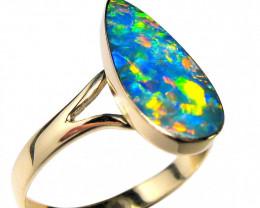 Australian Opal Ring Inlay Gem Inlaid Doublet 2g Sz 7 14k D04