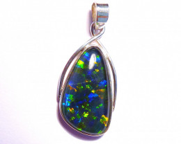 Hand Crafted Australian Opal and Sterling Silver Pendant (z3540)