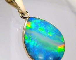 Australian Opal Pendant 4.55ct 14k Gold Inlaid Doublet #D11