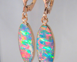 Australian Opal Earrings 7.7ct 14k Rose Gold Inlaid Doublets D08