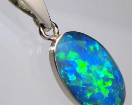 Opal Pendant 14k White Gold Australian inlaid Doublet 3.75ct D07