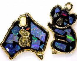 **Australian Made**Coober Pedy  Opal Gold Plated Pendant J-4