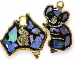 **Australian Made**Coober Pedy  Opal Gold Plated Pendant J-5