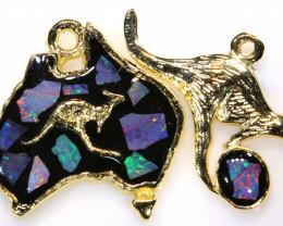 **Australian Made**Coober Pedy  Opal Gold Plated Pendant J-7