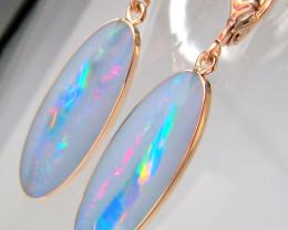 Australian Opal Earrings Rose Gold Dangle Jewelry Gems 14ct  D17
