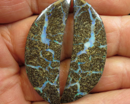 59cts, BOULDER OPAL~TOP PATTERN PAIR.