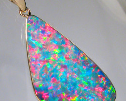 Rare Large  Opal & Diamond Pendant Inlaid Doublet 10.35ct  #D12