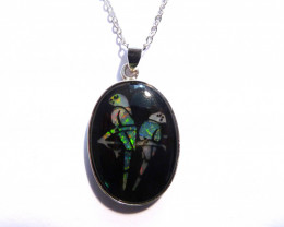 Inlayed Natural Australian Opal and Sterling Silver Bird Pendant (3558)