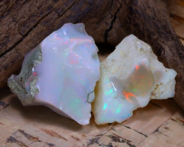 Welo Rough 28.85Ct Natural Ethiopian Play Of Color Rough Opal F0708