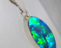 Opal Pendant Australian Silver Inlaid  Doublet  5.1ct  Gift D14