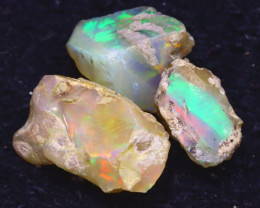 22.40Ct Multi Color Play Ethiopian Welo Opal Rough JF1117/R2
