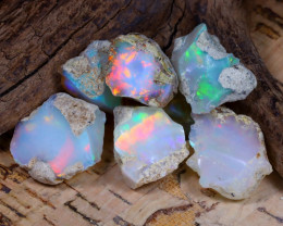 Welo Rough 34.69Ct Natural Ethiopian Play Of Color Rough Opal E1009
