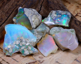 Welo Rough 34.19Ct Natural Ethiopian Play Of Color Rough Opal F1003