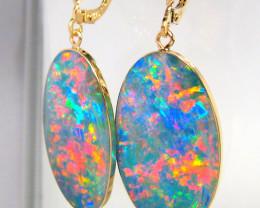 Huge Genuine Australian Opal Earrings  Gift Jewelry 24.4ct D21