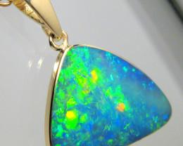 Australian Opal Pendant 7.2ct 14k Gold Inlaid Doublet Gem #D26