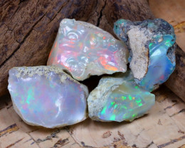 Welo Rough 38.72Ct Natural Ethiopian Play Of Color Rough Opal D1502