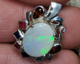 Light Opal solid Sterling Silver Pendant with gemstones SOP130920