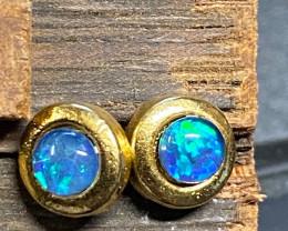 Cute Gem Opal Triplet set in Gold Plate Earring   Na 634