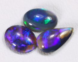 1.24Ct 3Pcs Natural Australian Lightning Ridge Crystal Opal Lot E1604